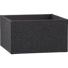 charcoal felt storage box in storage | CB2 -- bathroom shelf storage