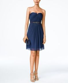 Adrianna Papell Strapless Ruched Dress | macys.com