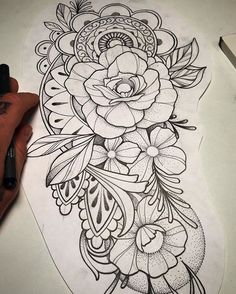 WEBSTA @ feraleyes - I would love to put this on somebody's arm. Stomach Tattoos, Arm Tattoos, Flower Tattoos, Body Art Tattoos, Tattoo Drawings, Sleeve Tattoos, Floral Tattoo Design, Mandala Tattoo Design, Tattoo Designs