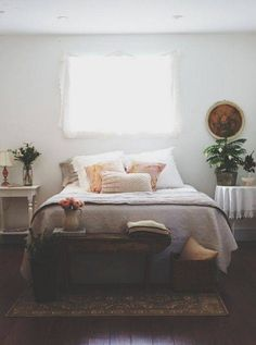 No Headboard Ideas white bedroom