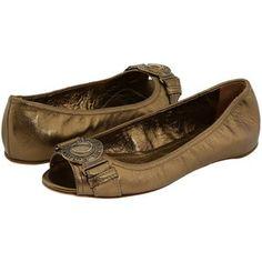 $236.00 - Burberry Grainy Leather Peep Toe Ballerina