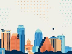 Austin Skyline designed by Lin Zagorski. Connect with them on Dribbble; Bus Stop Design, Austin Skyline, Skyline Design, Futuristic City, City Illustration, City Art, Wall Collage, Art Inspo, Watercolor