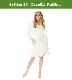 "Softies 36"" Chenille Ruffle Wrap Robe. Fashionably cut just above the knee, this 36"" chenille ruffle robe is warmth without weight, perfect for taking the chill out of a morning. Inside tie and hidden side pockets."