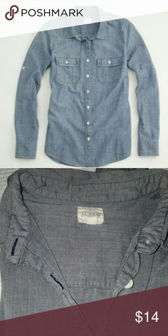 J. Crew Factory Chambray Shirt This is a long sleeved chambray shirt by J. Crew Factory. Super soft and in great condition. Size S. J. Crew Factory Tops Button Down Shirts