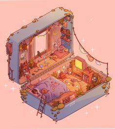 Polly Pocket Slumber: Day, an art print by Brittnie Marcil Aesthetic Art, Aesthetic Anime, Aesthetic Pictures, Aesthetic Drawings, Journal Aesthetic, Aesthetic Clothes, Kawaii Drawings, Cute Drawings, Art Isométrique
