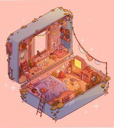 Polly Pocket Slumber: Day, an art print by Brittnie Marcil Art Kawaii, Cute Kawaii Drawings, Aesthetic Art, Aesthetic Anime, Aesthetic Drawings, Journal Aesthetic, Aesthetic Pictures, Aesthetic Clothes, Art Isométrique