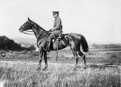 A formal portrait of Field Marshal Sir Douglas Haig on horseback at Poperinghe. Born in Edinburgh, Haig was Commander-in-Chief of the Western Front, 1915 - 1918...
