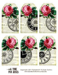 Free Printable of the Week: Rose Clock Hang Tags