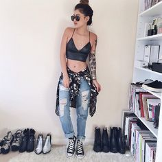 Bralet - missguided Jeans - missguided Shoes - converses Shirt - 6ks Sunnies - quay eye wear Necklace - delilah dust