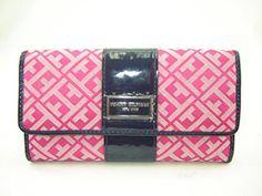 Tommy Hilfiger Women's Signature Checkbook Wallet Pink Navy