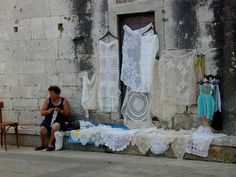one of many lace vendors in Zadar, Croatia
