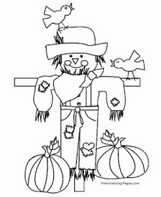 Scarecrow coloring page ~ #thanksgiving