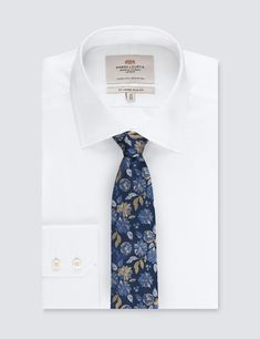 301b39b04ecef4 Men's Navy & Yellow Bold Floral Tie - 100% Silk | Hawes and Curtis