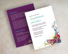 Wedding invitations, contemporary swirly vines in eggplant purple, teal, red and gold. $59.00, via Etsy.