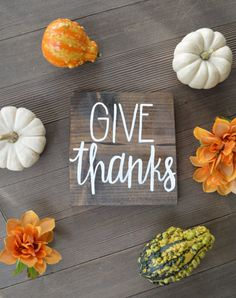GIVE thanks 7x7 wood sign The perfect addition to your fall decor !! rustic wood sign / home decor