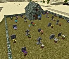 Graveyard with mausoleum