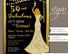 Elegant lady 50th birthday party gold black wine card 50 birthday 50th birthday party invitations woman bling dress 40th womans birthday party invites dress bling cocktail party filmwisefo Gallery