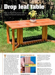 #2670 Drop Leaf Dining Table Plans - Furniture Plans