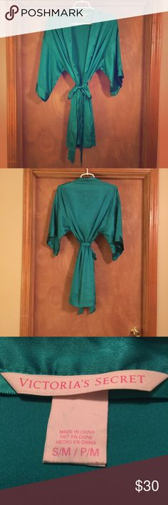 Green Victorias Secret Satin Robe Satin robe by Victoria's Secret. Super soft and versatile, but sexy at the same time! Victoria's Secret Intimates & Sleepwear Robes