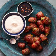 Bacon-Wrapped Brussels Sprouts with Creamy Lemon Dip By Food Network Kitchen
