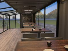 Prefabricated Houses, Prefab Homes, Cafe Interior Design, Cafe Design, Food Stall Design, Shipping Container Restaurant, Outdoor Restaurant Design, Container Coffee Shop, Coffee Restaurants