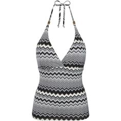 John Lewis Monochrome Zig Zag Halter Tankini Top, Black/White (£28) ❤ liked on Polyvore featuring swimwear, bikinis, bikini tops, halter swimsuit tops, halter tankini top, halter neck bikini top, halter swim top and plunge halter top
