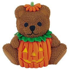 No Applause, Just Throw Candy Cake - This cutest little trick or treater would be the center of attention on your Halloween buffet table. Our Stand-Up Cuddly Bear Pan cake is covered with a fondant jack 'o lantern costume, complete with hat and stem. Who could resist this sweet fellow?
