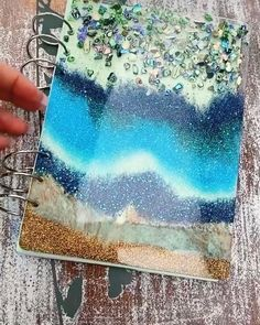 Why buy a boring notebook when you can make this with our products 🤗🤗 Shop products to make this 💜💜 Resin, abalone shells, glitters, chameleon pigments xx videos notebook Handmade resin art notebook! Diy Resin Art, Epoxy Resin Art, Diy Resin Crafts, Diy Art, Diy And Crafts, Paper Crafts, Stick Crafts, Uv Resin, Art Crafts