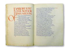 Doble de apertura para Paradise Lost, de John Milton. Editado por Dove press. 1903-1905