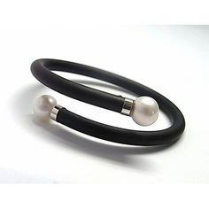 Pulsera de plata de primera ley de caucho con dos perlas blancas