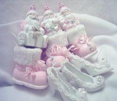 santa boots and shoe tree ornaments