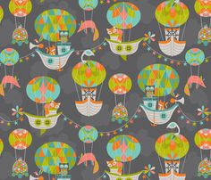 Dreamy flying machines fabric by cjldesigns on Spoonflower - custom fabric