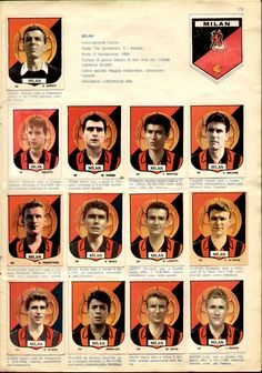AC Milan team stickers for Ac Milan, Football Team, Album, Soccer, Sports, Vintage, 1960s, Stickers, Big