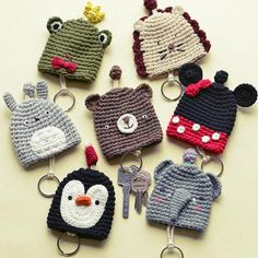 简约公社 生活小物 手工针织卡通动物粗毛线钥匙包钥匙圈