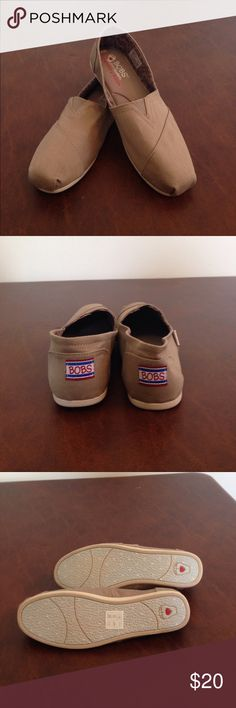 NWOT BOBS by sketchers slip-ons w/memory foam NWOT BOBS by sketchers tan slip-ons with memory foam size 7.5 Shoes Flats & Loafers