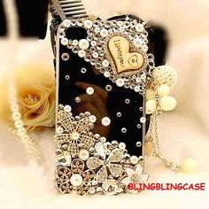 iphone 4 case , Bling iphone 4 case crystal flower case, Vinage iphone 4S case, Pearl iphone 4 case Charm I Love You