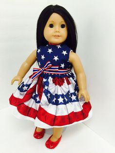 Megan is festive in this dress with a starry bodice and flag bunting skirt! Chloe's Closet, Bunting, 4th Of July, Doll Clothes, Festive, Bodice, Snow White, Flag, Summer Dresses