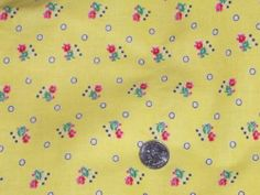 Full Vintage Feedsack: Buttery Yellow with Red Flowers and Navy Circles & Square