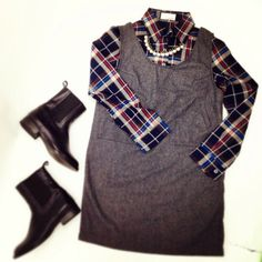 Plaid Shirt,  Jumper Skirt, Side Gore Boots, Parl Necklace, 2013AW