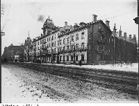 Historic photo from 1908 - Queen's Hotel looking west across Front Street in Financial District - site of Royal York