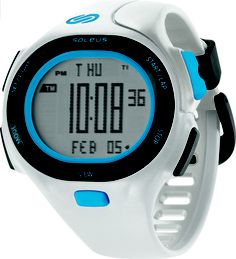 Soleus Running Watch - P.R. - White / Clear Blue