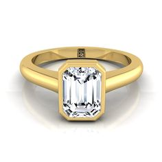 Emerald Cut Bezel Solitaire Engagement Ring In 14k Yellow Gold