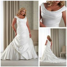 Free Shipping!!! MWP1017 New Designed Taffeta Mermaid Scoop Plus Size Wedding Dresses 2013 $178.00