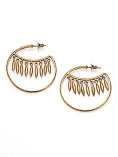 """GURHAN 24K Yellow Gold Wink Hoop Earrings/2"""""""
