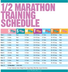 Training Schedule for a 1/2 Marathon for all you runners out there...