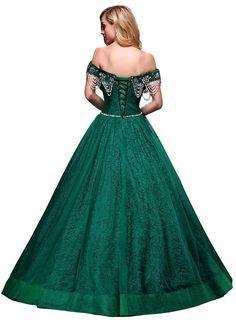 4fbd864b5a8 Dresses · BeautyEmily Maxi Long Lace Pearl Bead Sash Boat Neck Off The  Shoulder Band Princess Ball Elegant