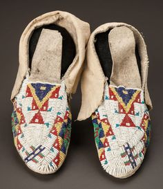 Old, finely bead-embroidered Sioux moccasins. (Lane stitch).