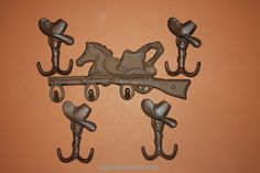 Set of 5) Cowboy Hat and Horse Wall Hooks, free shipping, (TC) (W) 12, 6