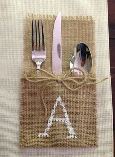 "Flatware Holder | Personalized ""A"" Burlap Flatware Holder, Rustic Silverware Place ..."
