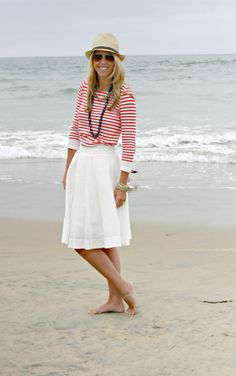 Straw hat, striped shirt white skirt. I have these things!